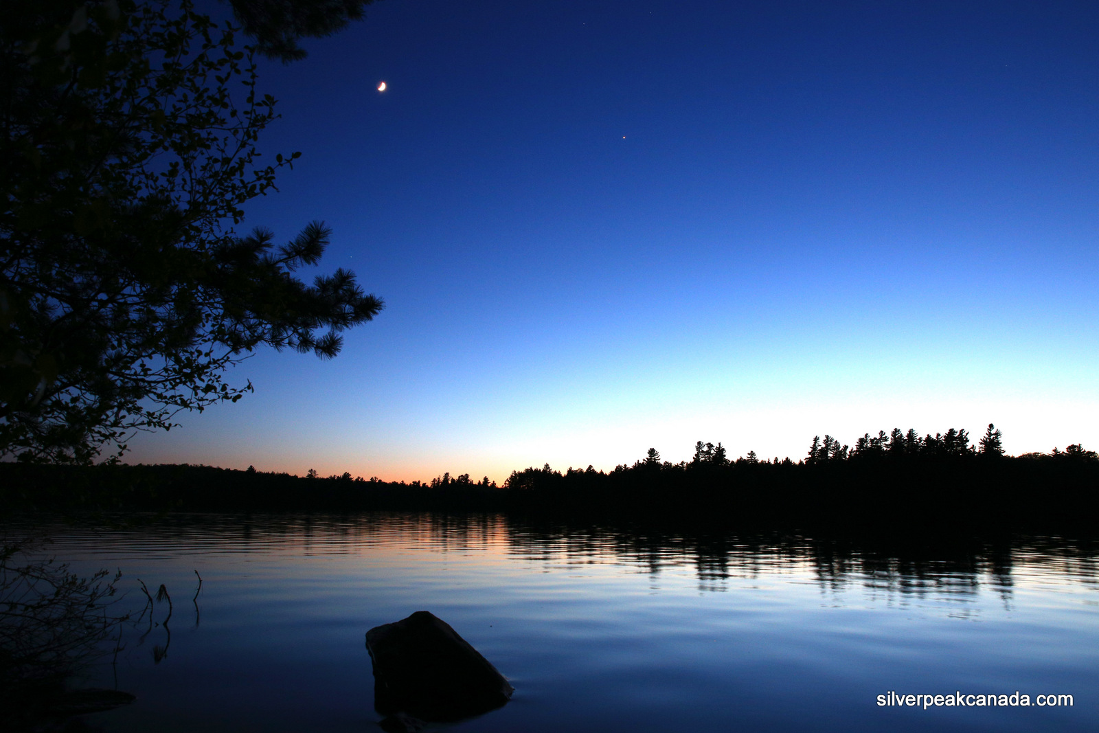 Moon Over the Lake Algonquin Park Ontario