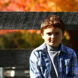 Logan in the Fall at the Animal Farm